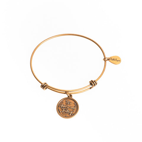 Be Awesome Today Expandable Bangle Charm Bracelet in Gold - BellaRyann