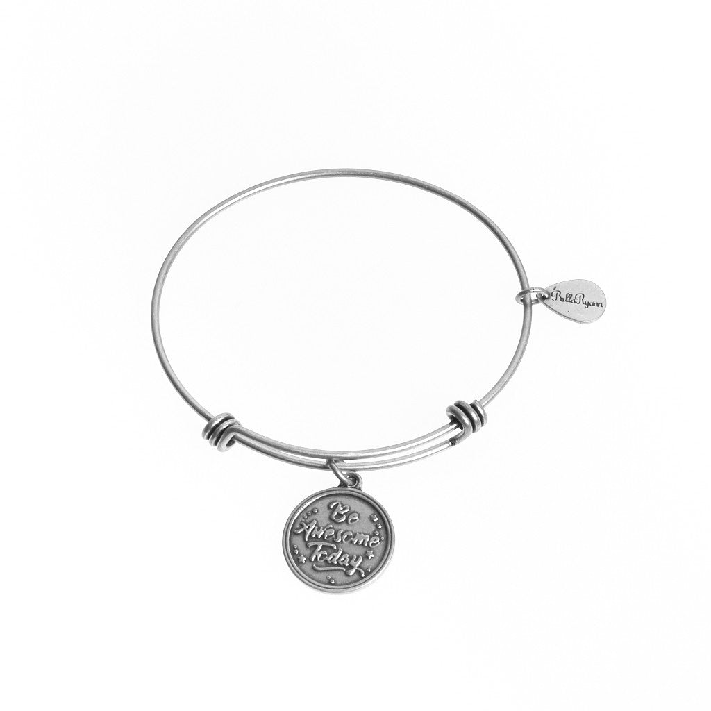 Be Awesome Today Expandable Bangle Charm Bracelet in Silver - BellaRyann