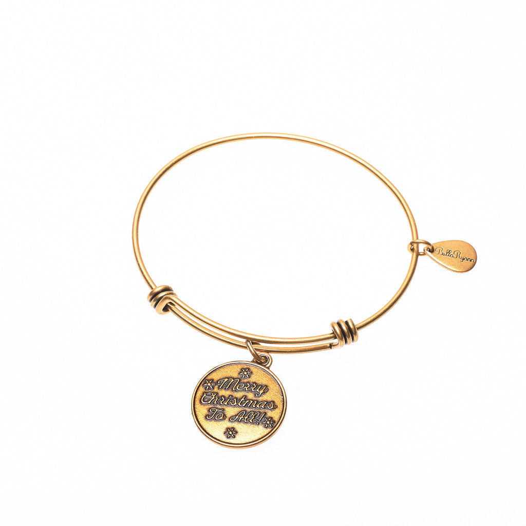 Merry Christmas to All Expandable Bangle Charm Bracelet in Gold