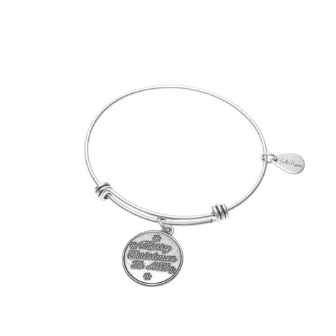 Merry Christmas to All Expandable Bangle Charm Bracelet in Silver