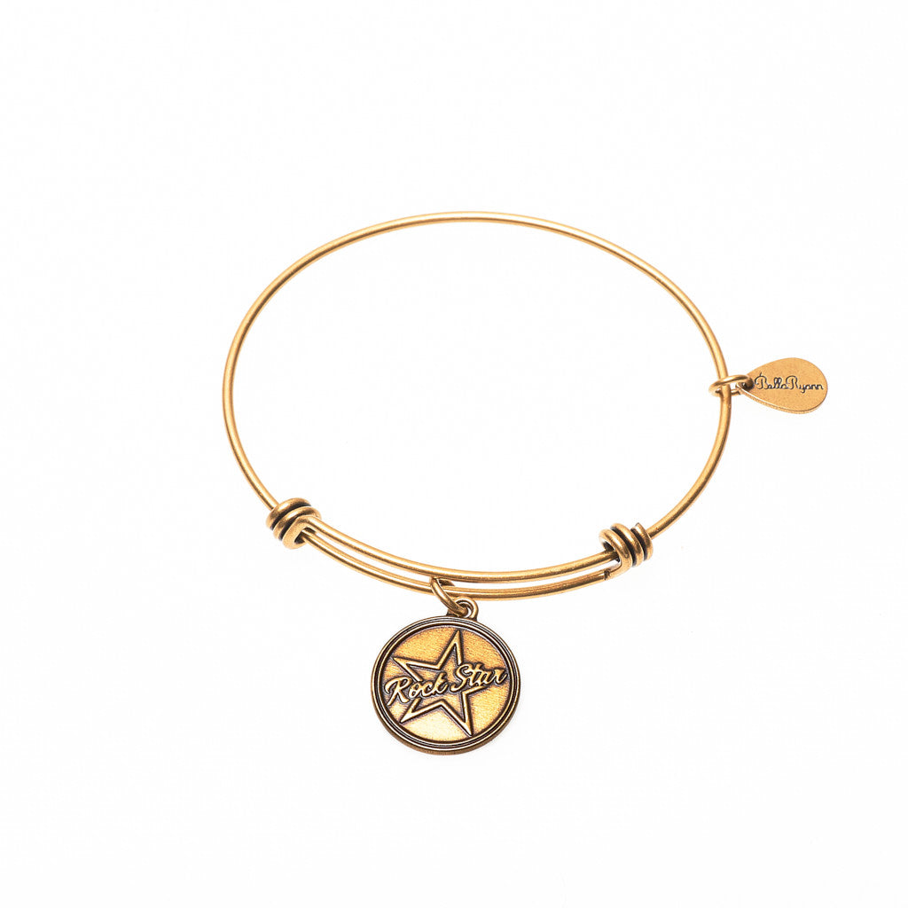 Rock Star Expandable Bangle Charm Bracelet in Gold