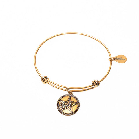 Rock Star Expandable Bangle Charm Bracelet in Gold - BellaRyann