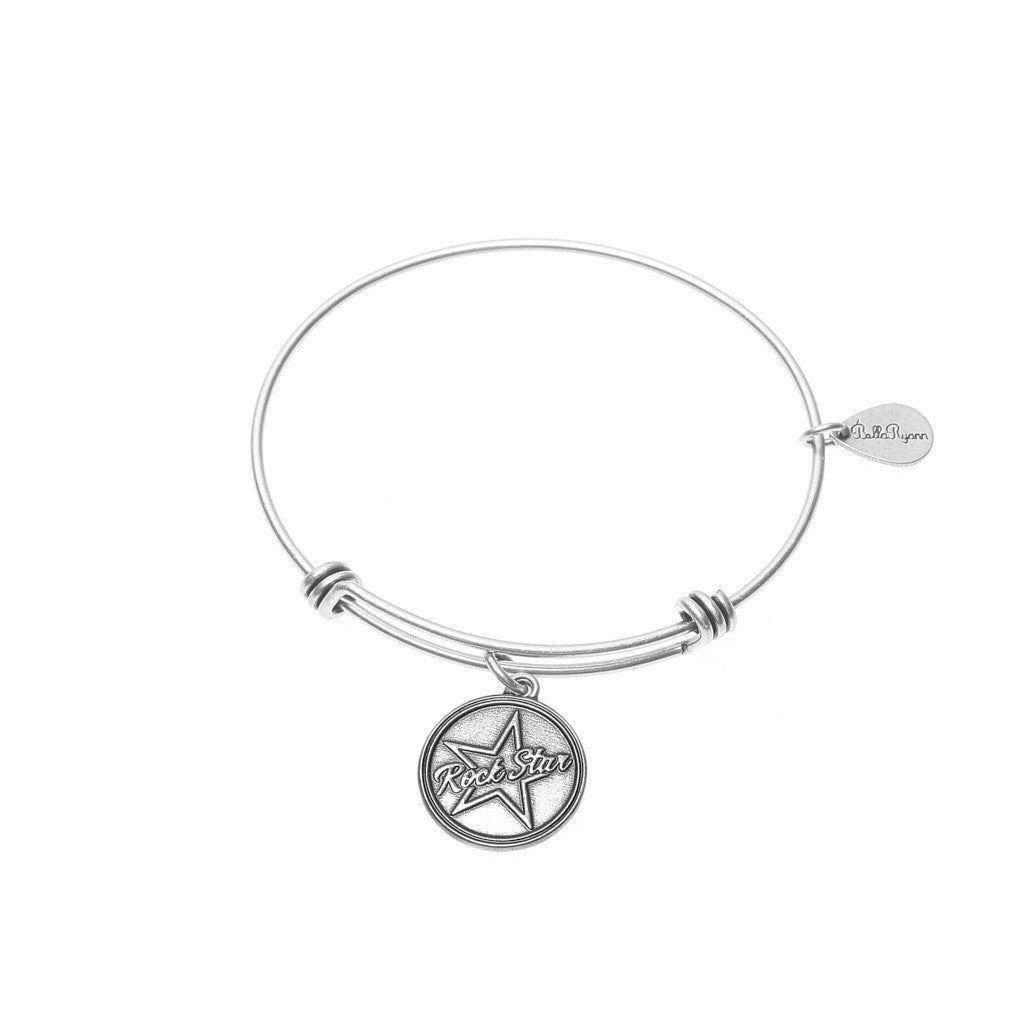 Rock Star Expandable Bangle Charm Bracelet in Silver