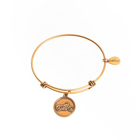 Motorcycle Expandable Bangle Charm Bracelet in Gold - BellaRyann