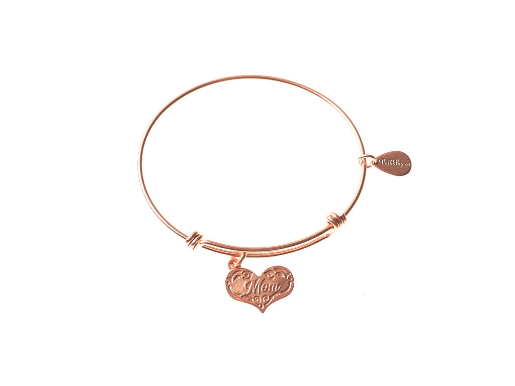Mom Expandable Bangle Charm Bracelet in Matte Rose Gold