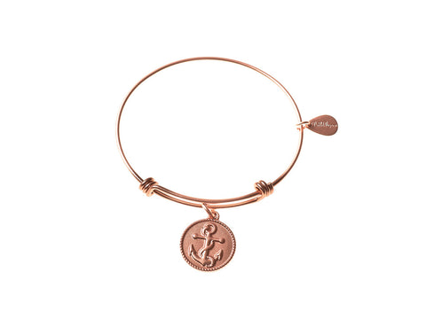 Anchor Expandable Bangle Charm Bracelet in Matte Rose Gold - BellaRyann