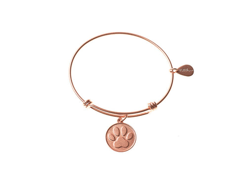Dog Paw Expandable Bangle Charm Bracelet in Matte Rose Gold - BellaRyann