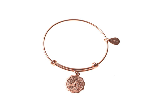 Tree of Life Expandable Bangle Charm Bracelet in Matte Rose Gold