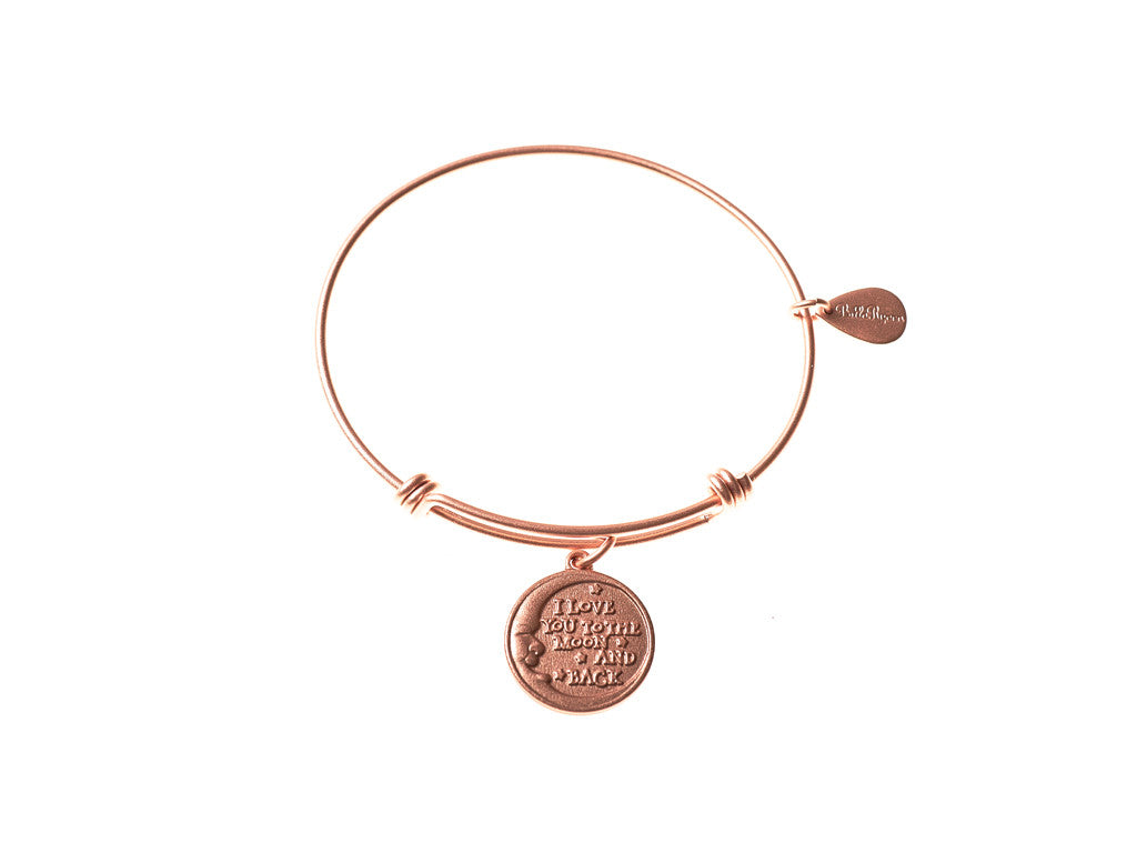 Love You to the Moon and Back Expandable Bangle Charm Bracelet in Matte Rose Gold