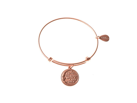 Love You to the Moon and Back Expandable Bangle Charm Bracelet in Matte Rose Gold - BellaRyann