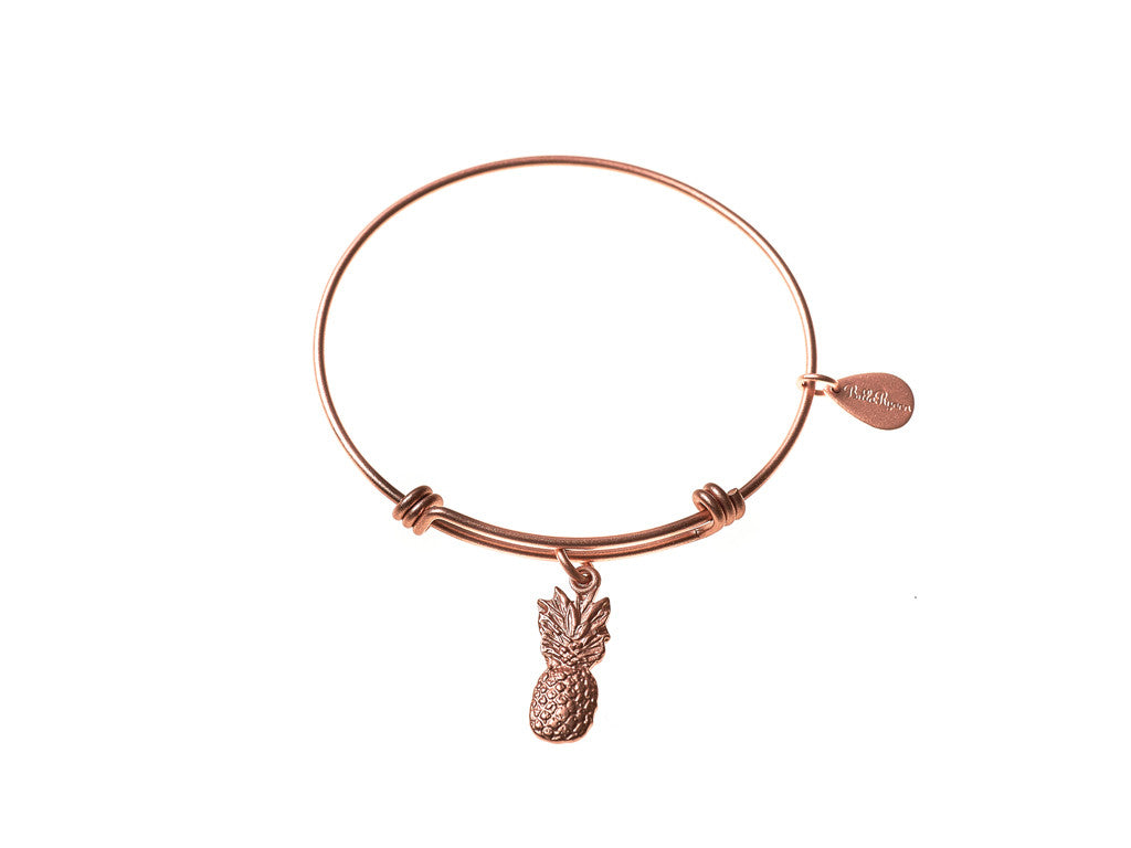 Pineapple Expandable Bangle Charm Bracelet in Matte Rose Gold - BellaRyann