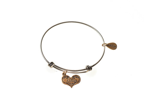 Mom Expandable Bangle Charm Bracelet in Two Toned Mixed Metal