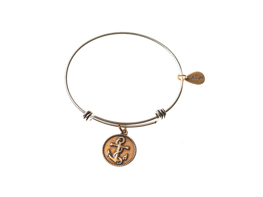 Anchor Expandable Bangle Charm Bracelet in Two Toned Mixed Metal - BellaRyann