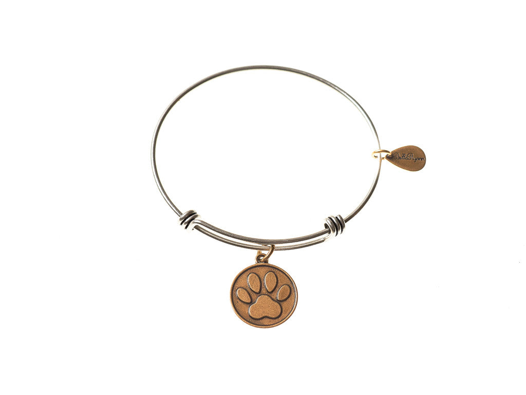 Dog Paw Expandable Bangle Charm Bracelet in Two Toned Mixed Metal - BellaRyann