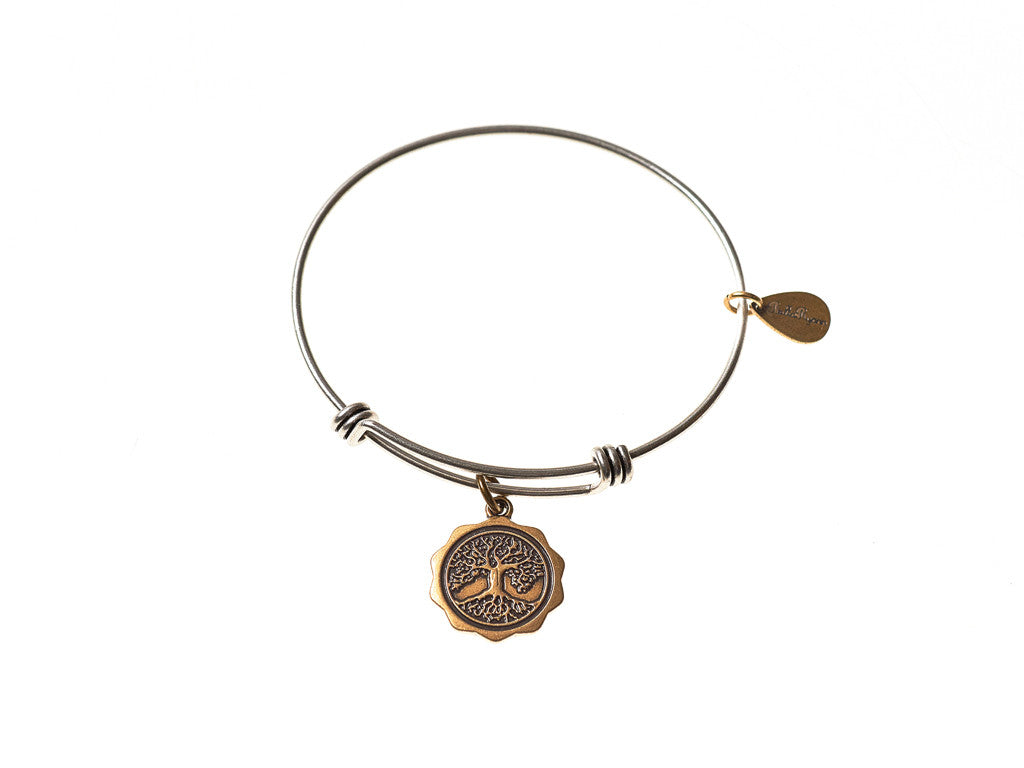 Tree of Life Expandable Bangle Charm Bracelet in Two Toned Mixed Metal