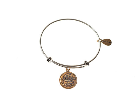 Love You to the Moon and Back Expandable Bangle Charm Bracelet in Two Toned Mixed Metal