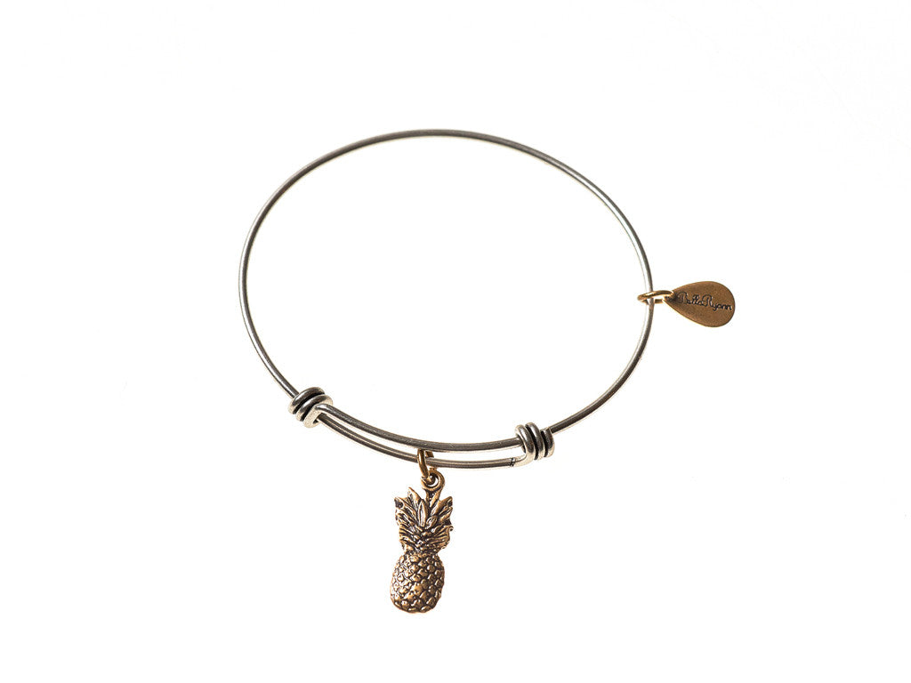 Pineapple Expandable Bangle Charm Bracelet in Two Toned Mixed Metal