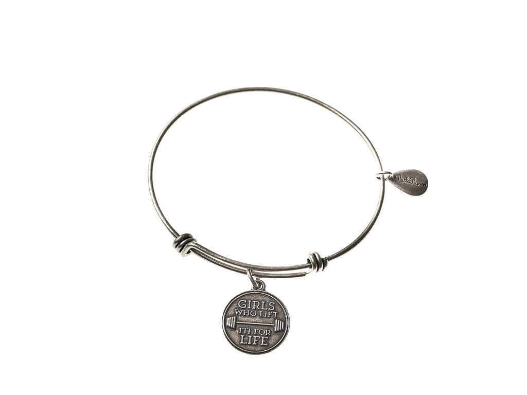 Girls Who Lift Fit For Life Bangle Charm Bracelet in Gold ...