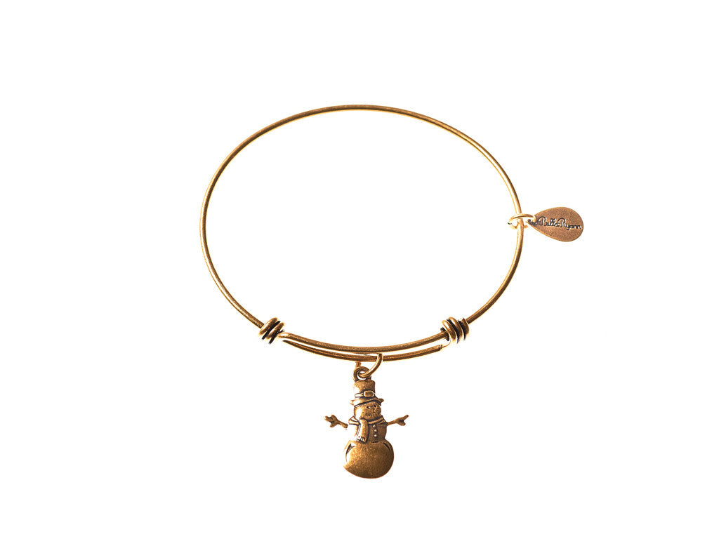 Snowman Christmas Expandable Bangle Charm Bracelet in Gold