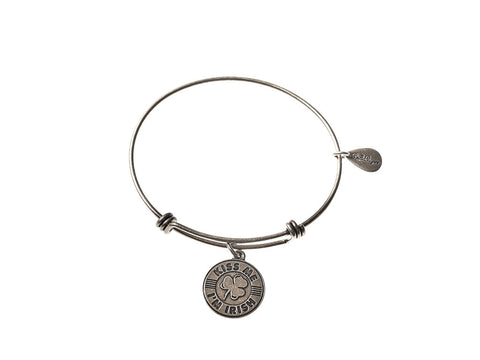 Kiss Me I'm Irish Expandable Bangle Charm Bracelet in Silver - BellaRyann