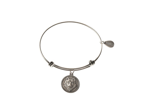 Wolf Expandable Bangle Charm Bracelet in Silver