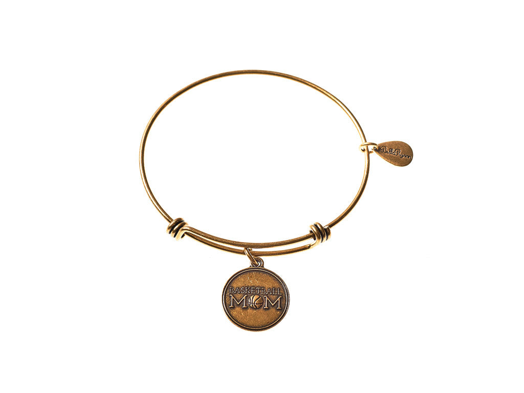 Basketball Mom Expandable Bangle Charm Bracelet in Gold - BellaRyann