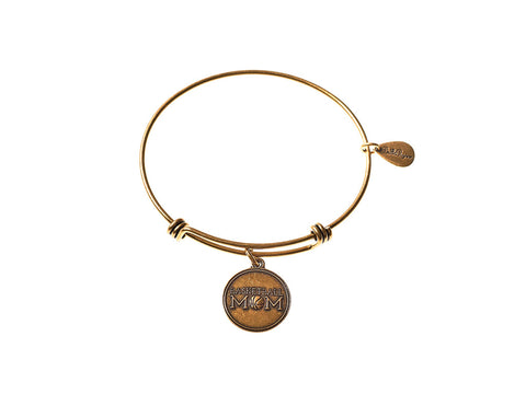 Basketball Mom Expandable Bangle Charm Bracelet in Gold