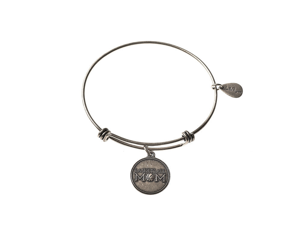 Basketball Mom Expandable Bangle Charm Bracelet in Silver
