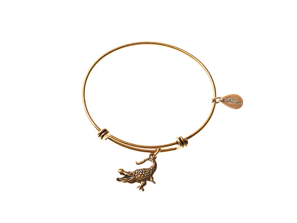 Alligator Expandable Bangle Charm Bracelet in Gold - BellaRyann