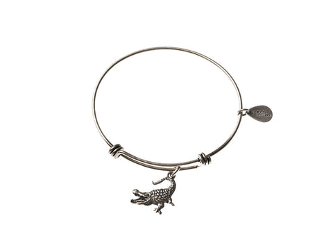Alligator Expandable Bangle Charm Bracelet in Silver - BellaRyann