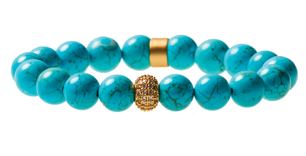 Blue Howlite Beaded Crown Jewel Bracelet with Gold Spacers - BellaRyann