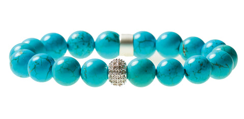 Blue Howlite Beaded Crown Jewel Bracelet with Silver Spacers - BellaRyann