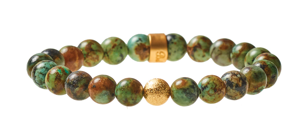 African Turquoise Beaded Crown Jewel Bracelet with Gold Spacers