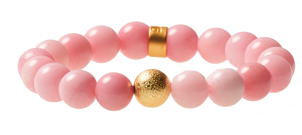 Pink Dyed Agate Beaded Crown Jewel Bracelet with Gold Spacers - BellaRyann