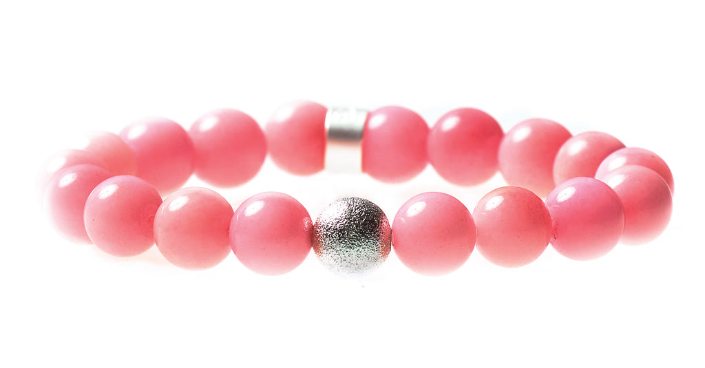 Pink Dyed Agate Beaded Crown Jewel Bracelet with Silver Spacers