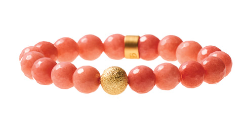 Coral Agate Beaded Crown Jewel Bracelet with Gold Spacers