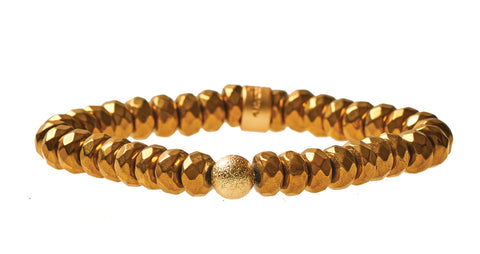 Gold Plated Hematite Crown Jewel Beaded Bracelet in Gold - BellaRyann