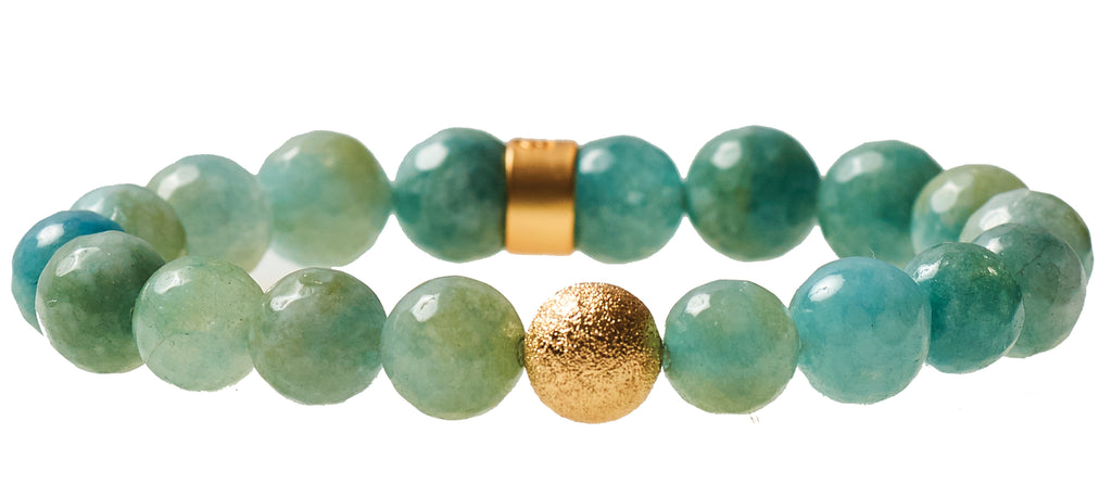 Aqua Agate  Beaded Crown Jewel Bracelet with Gold Spacers