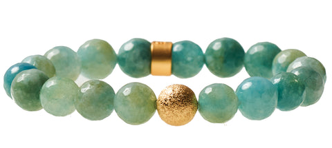 Aqua Agate  Beaded Crown Jewel Bracelet with Gold Spacers - BellaRyann