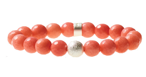 Coral Agate Beaded Crown Jewel Bracelet with Silver Spacers - BellaRyann