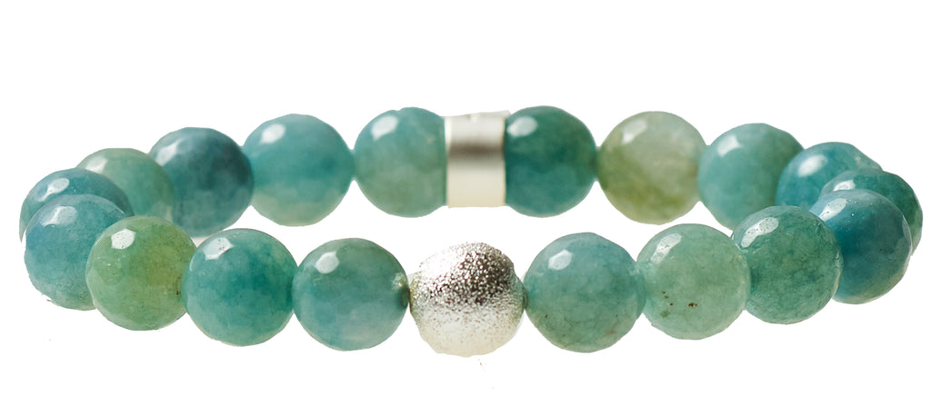 Aqua Agate Beaded Crown Jewel Bracelet with Silver Spacers - BellaRyann
