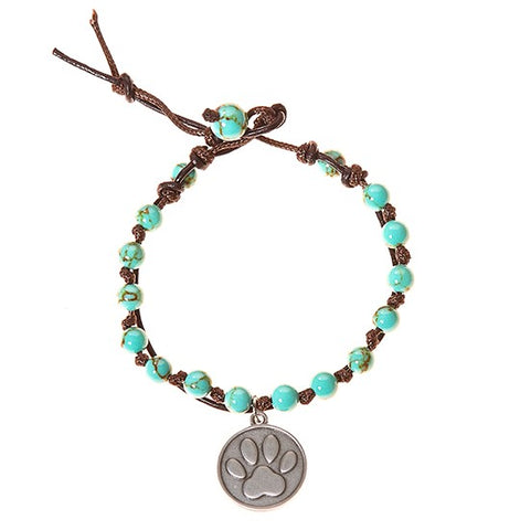 Dog Paw Stainless Steel Charm and Turquoise Howlite Stone Leather Wrap - BellaRyann