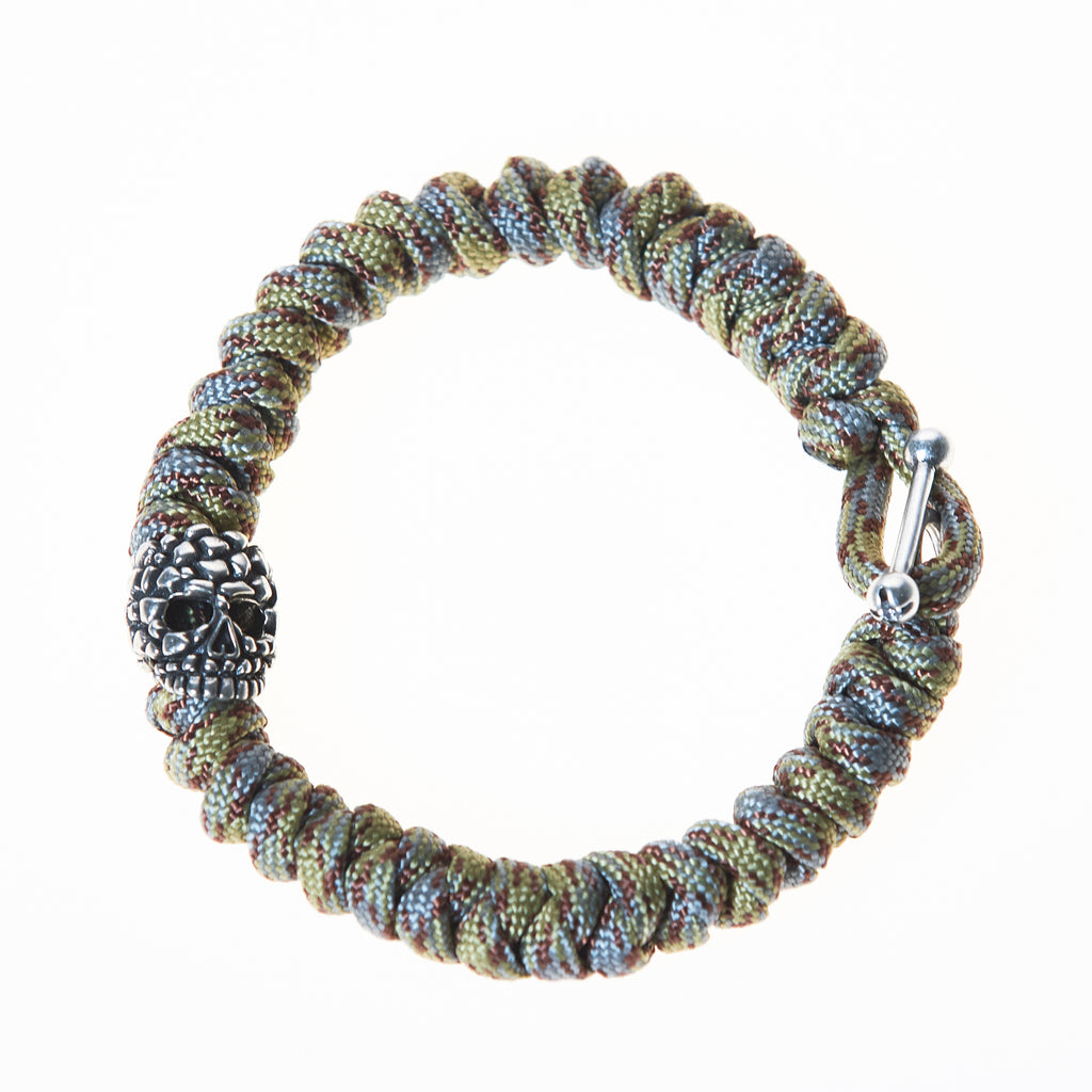 Parachute Cord with Metal Skull Men's Bracelet in Olive/Gray