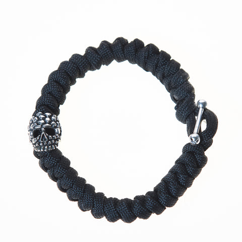 Parachute Cord with Metal Skull Men's Bracelet in Burgundy/Melange