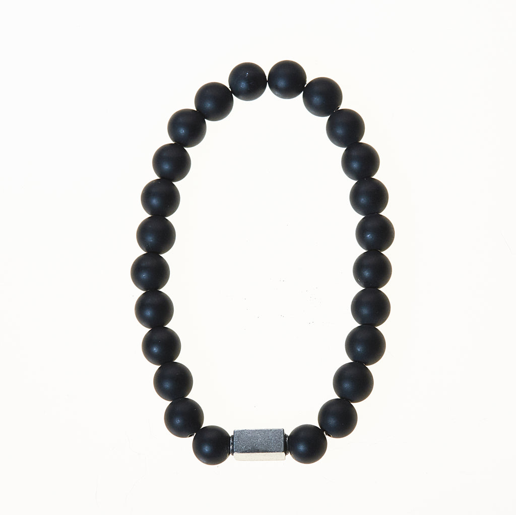 Stone Stretch Men's Bracelet with Onyx/Lava Beads