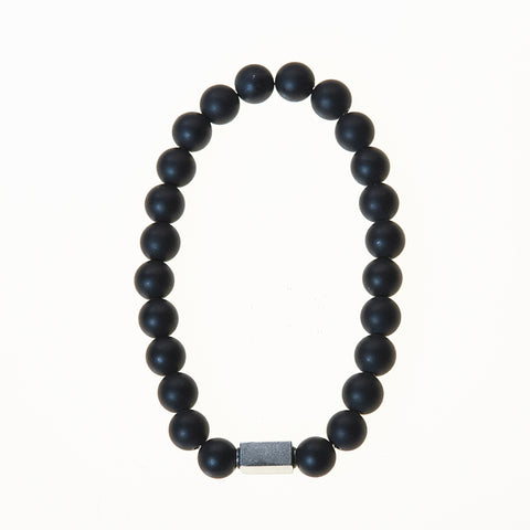 Stone Stretch Men's Bracelet with Onyx/Lava Beads - BellaRyann