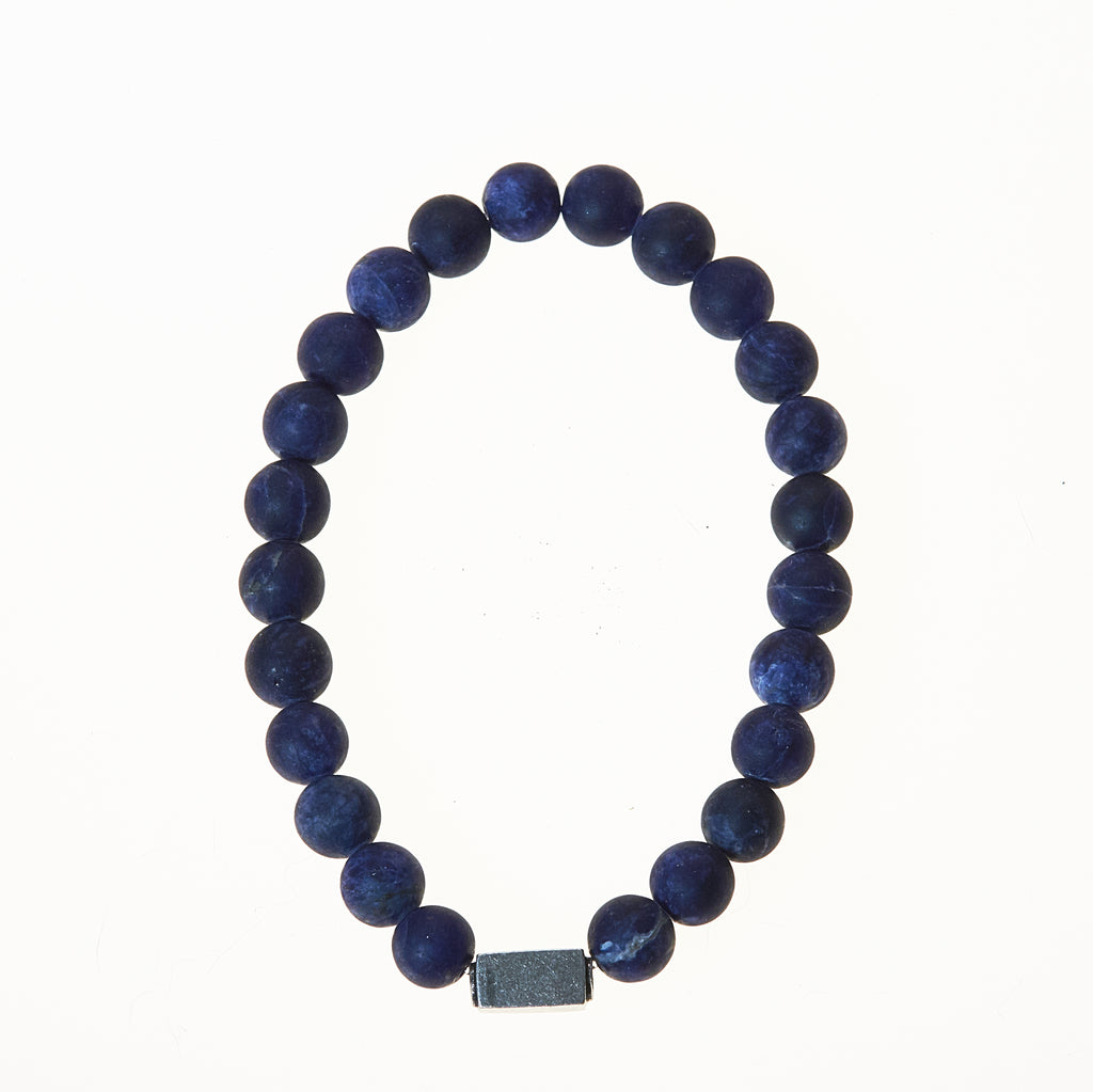 Stone Stretch Men's Bracelet with Sodalite Beads - BellaRyann