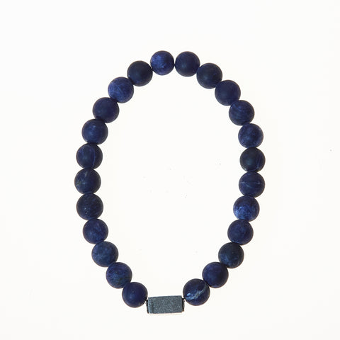 Stone Stretch Men's Bracelet with Sodalite Beads