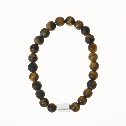 Stone Stretch Men's Bracelet with Tiger's Eye Beads