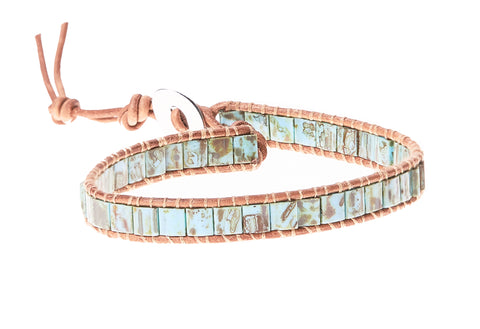 Glass Bead Men's Single Wrap in Turquoise - BellaRyann